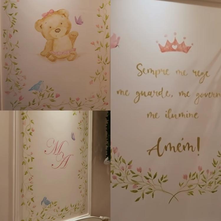 Decoração da parede do quarto de de bebê na casa do avô Leonardo.