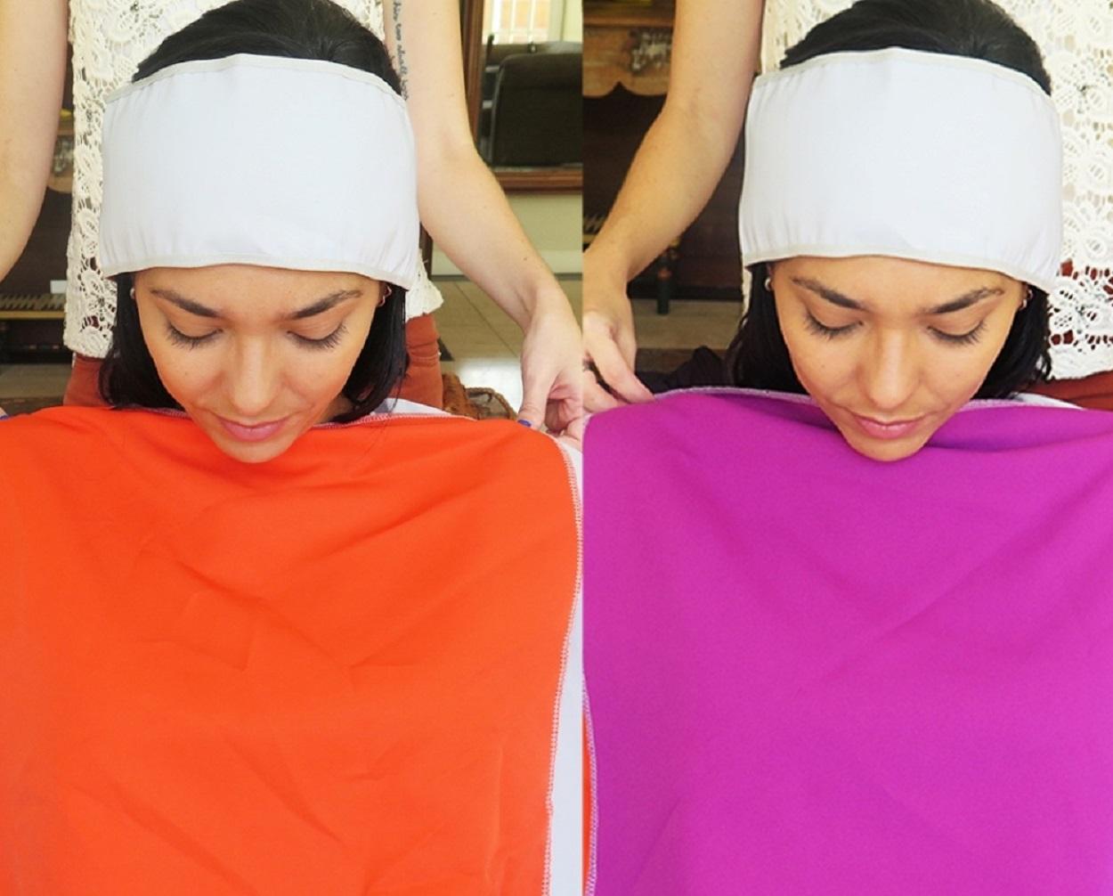 Mulher fazendo análise de coloração pessoal