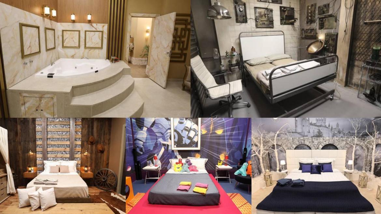 O casais Power Couple se dividem em quartos com temas cinematográficos (montagem: Fashion Bubbles)