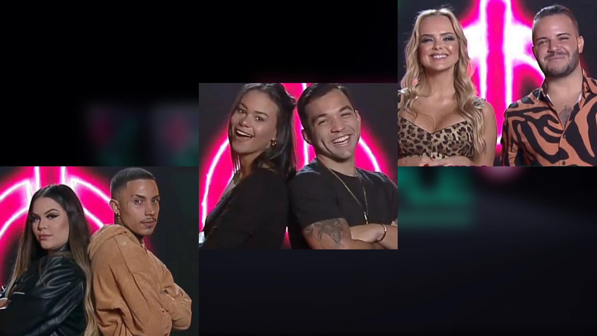 Mari e Matheus, Carol e Jonjon e Nina e Felipe estão na DR do Power Couple (montagem: Fashion Bubbles)