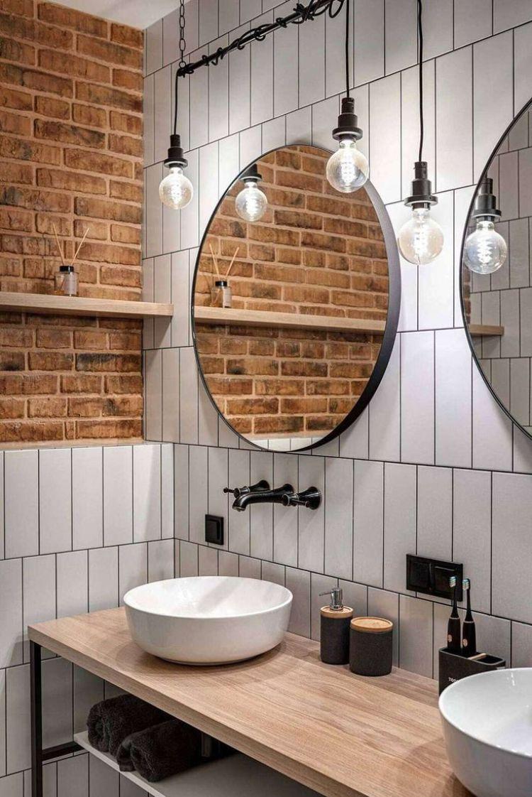 Estilo de decoração industrial para banheiro.