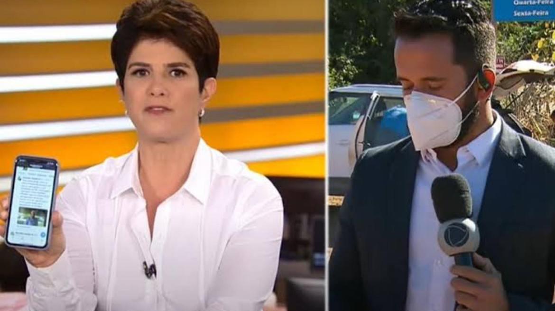Mariana Godoy dá em primeira mão a notícia da morte de Lázaro e o repórter Dionísio Freitas faz o link ao vivo (imagem: site Notícias da TV)