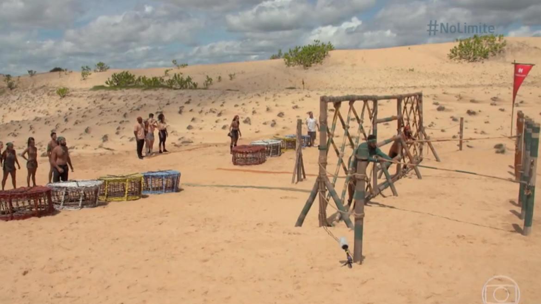 A tribo Carcará venceu a Prova Imunidade em No Limite e Arcrebiano pede para sair (imagem: reprodução/ Globo)