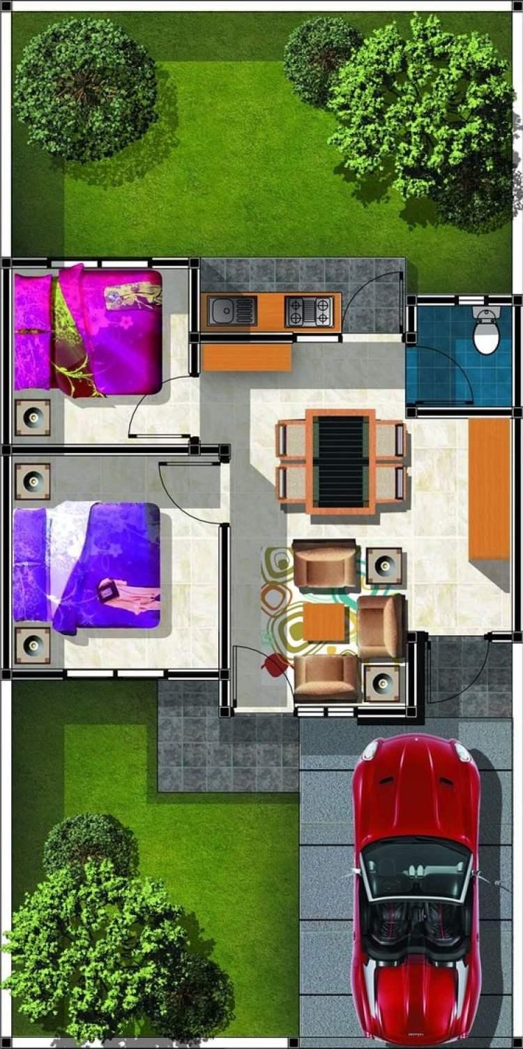 Planta de casa com dois quartos e quintal.