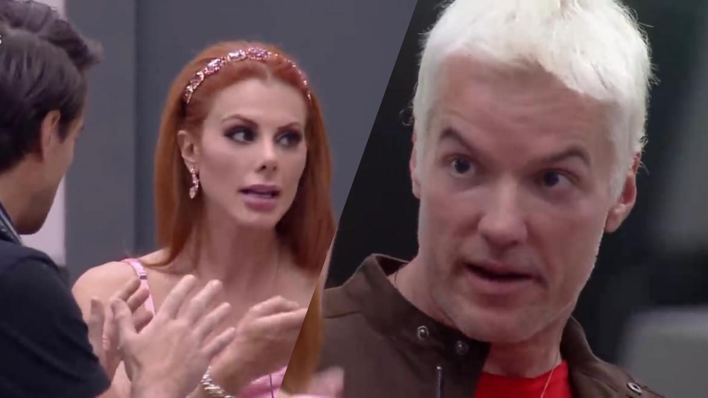 Bruno fica irritado com as interrupções de Deborah durante fala de Leandro (montagem: Fashion Bubbles)