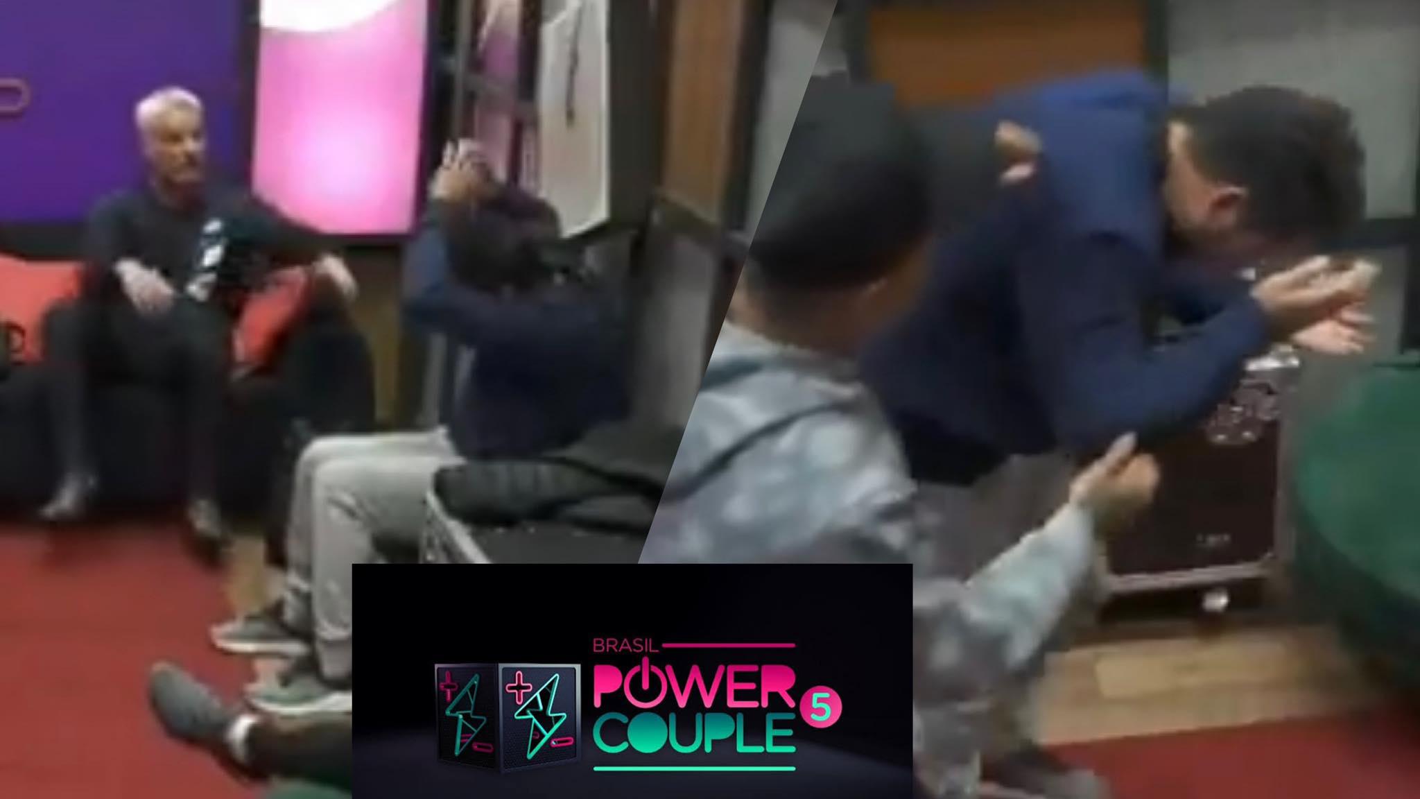 Thiago é atingido por uma placa no camarim do Power Couple. O sertanejo está bem (montagem: Fashion Bubbles)
