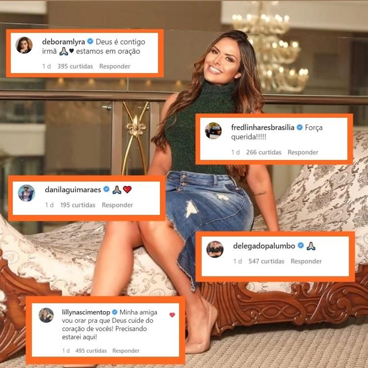 Montagem com comentários deixados na publicação de Silvye junto de foto dela.