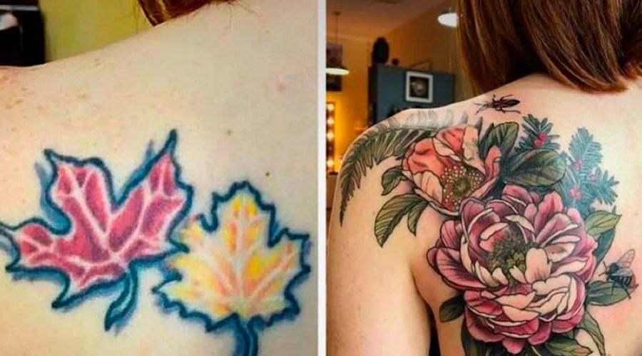 Tatuagem nas costas. A cobertura foi feita em uma tatuagem de duas folhas coloridas, a tatuagem nova é de duas flores coloridas grandes.