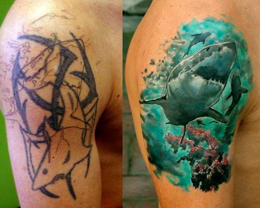 Tatuagem de um tubarão colorido cobre outra de um tubarão feita em preto.