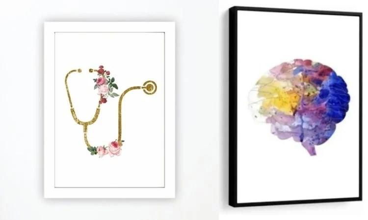 Montagem com dois quadros decorativos para consultório de médico
