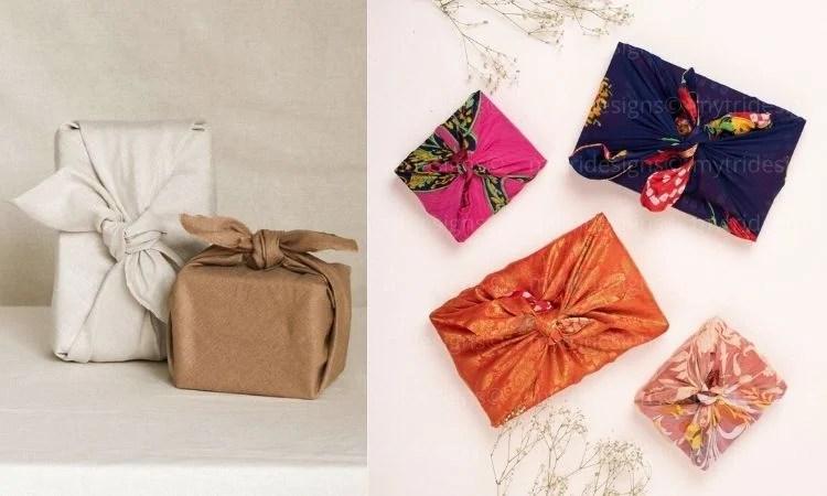 Embalagens criativas para presente feitas com tecido