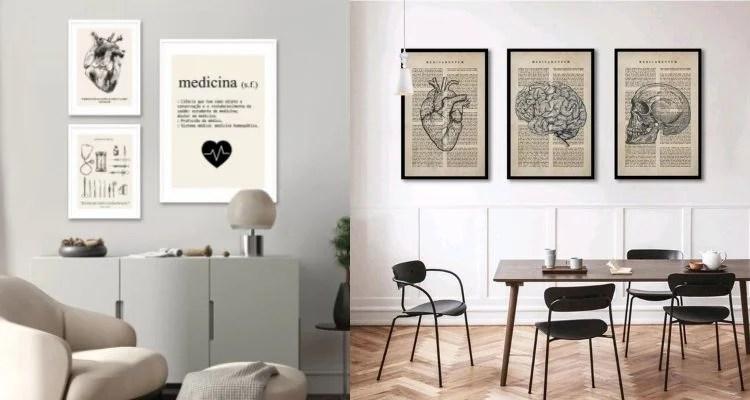 Montagem com dois kits de quadros decorativos para consultório de médico