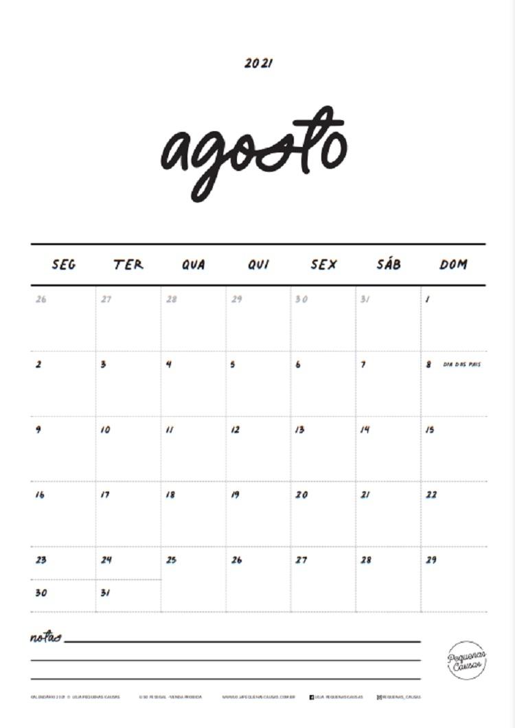 calendário de agosto de 2021 para imprimir