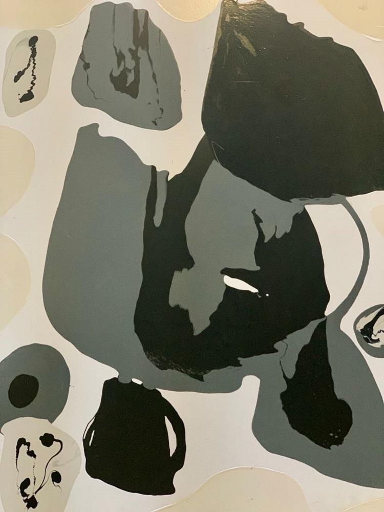 Quadro abstrato com cores branco, preto e cinza