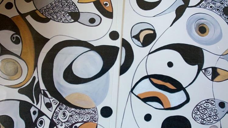 Mural abstrato de Alcinda Saphira