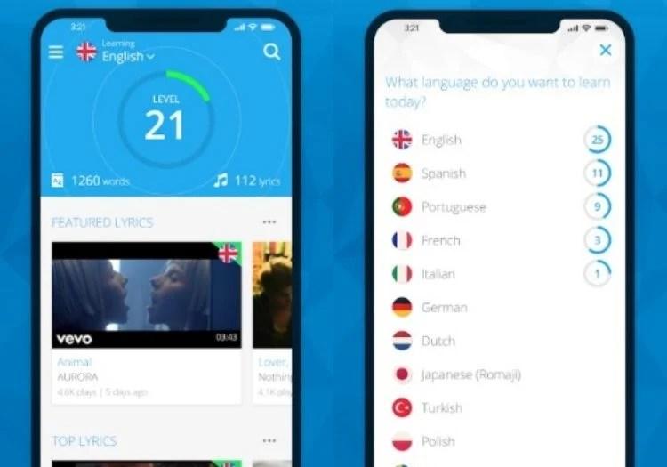 capturas de tela mostrando o app para aprender idiomas com música