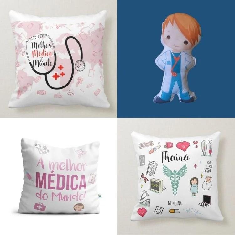 Montagem com quatro opções de almofada de presente para médico