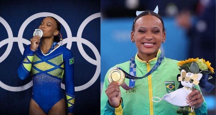 Montagem com duas fotos da ginasta Rebeca Andrade nas Olimpíadas de Tóquio