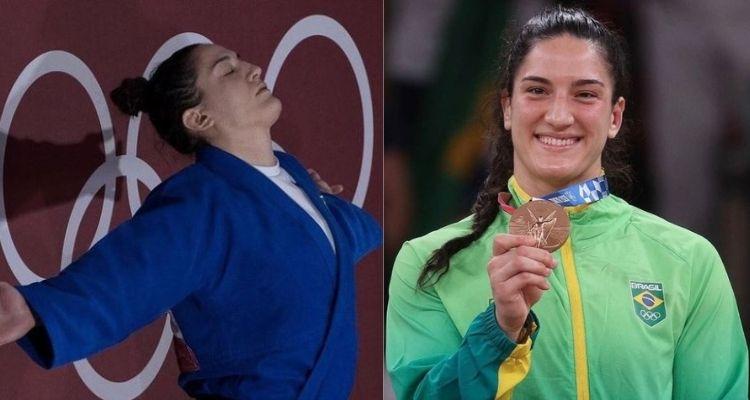 Montagem com duas fotos da judoca Mayra Aguiar nas Olimpíadas de Tóquio