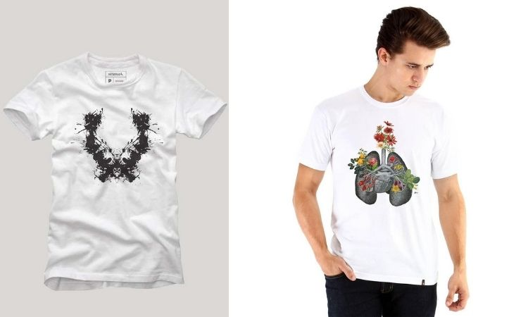Montagem com duas camisetas para médicos