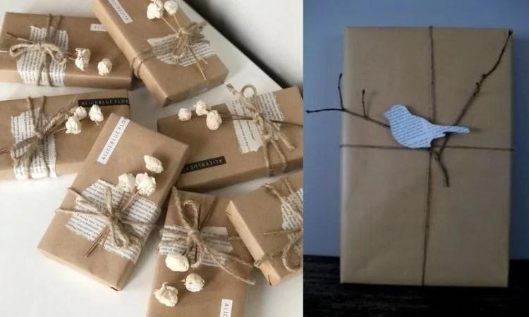 Embrulhos criativos de papel kraft com detalhes de revistas