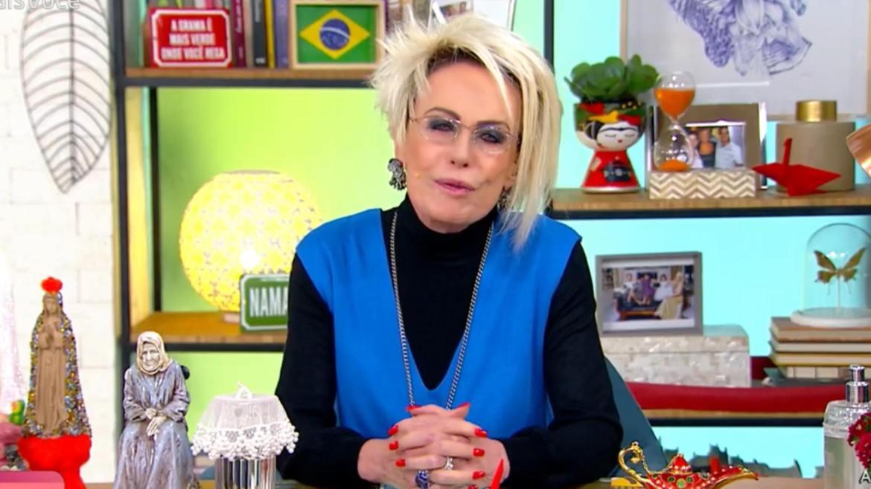 Ana Maria Braga revela que não conseguiu tomar banho na manhã dessa terça-feira por causa do frio de SP. Fonte: Reprodução/ Globo