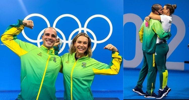 Montagem com duas fotos do nadador Bruno Fratus ao lado da esposa e treinadora Michelle Lenhardt