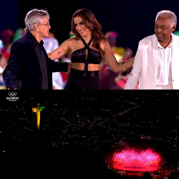Foto de Caetano Veloso, Anitta e Gilberto Gil.