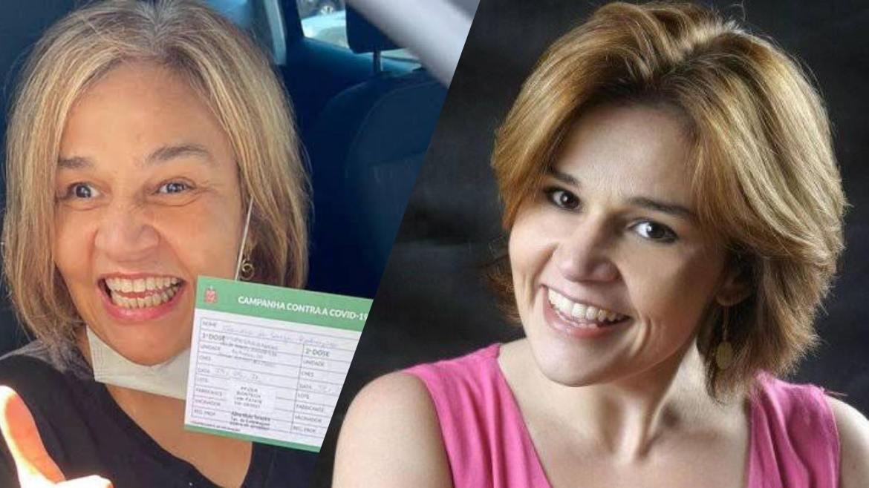 Claudia Rodrigues tomou a primeira dose da vacina contra a Covid-19 em maio (montagem: Fashion Bubbles)