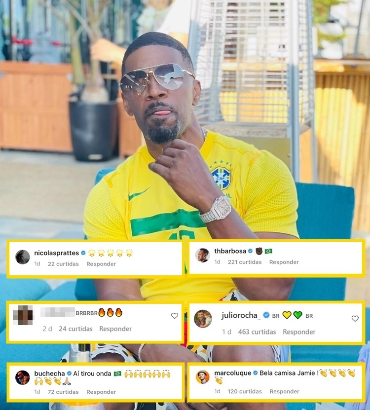 Foto de Jamie Foxx com camisa do Brasil montada com os comentários da publicação.
