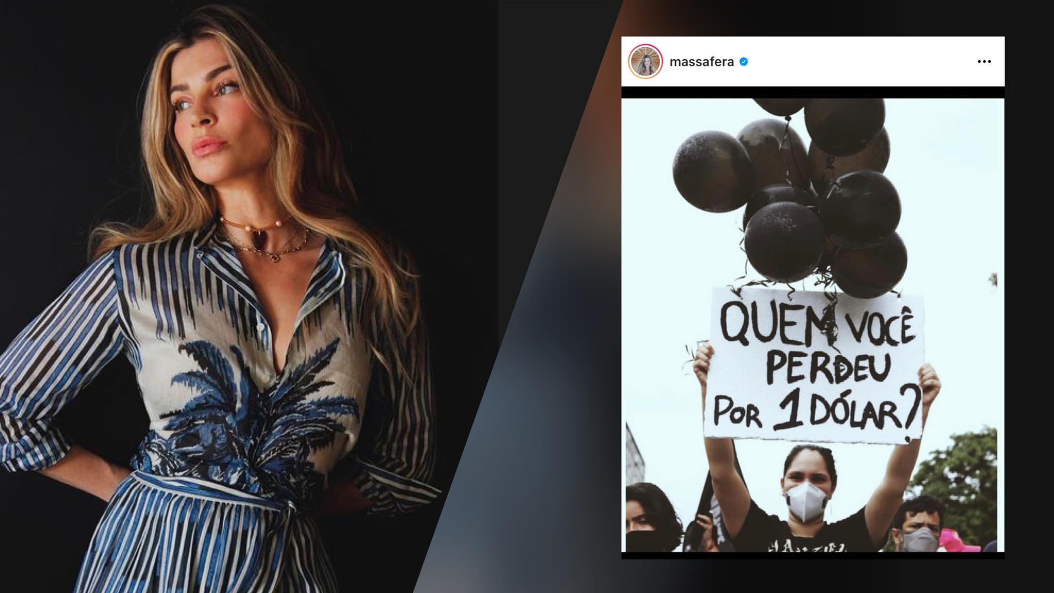 """Grazi Massafera fez uma postagem criticando o governo e foi """"cancelada"""". Montatagem: (Fashion Bubbles)"""