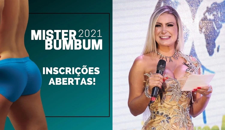 Foto de Andressa Urach e cartaz das inscrições do concurso.