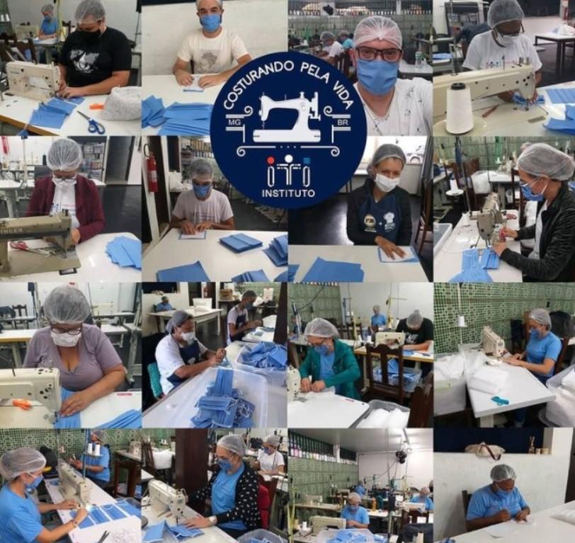 Montagem com várias fotos de pessoas produzindo máscaras sanitárias no Instituto ITI