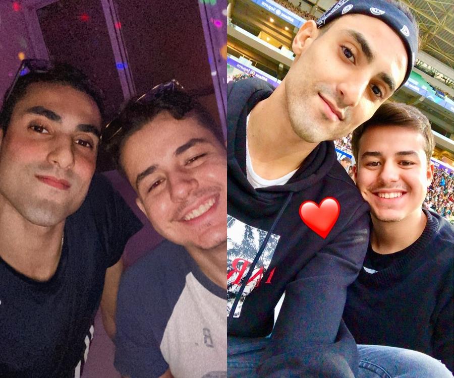 Foto do ponteiro da seleção brasileira e seu namorado.