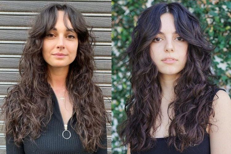 Duas fotos de mulheres com curtain bangs cabelo ondulado