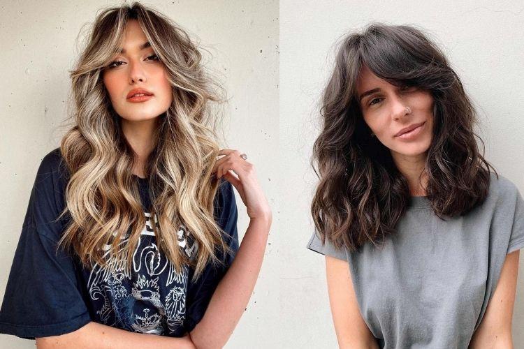 Duas fotos de mulheres com cortininha cabelo ondulado