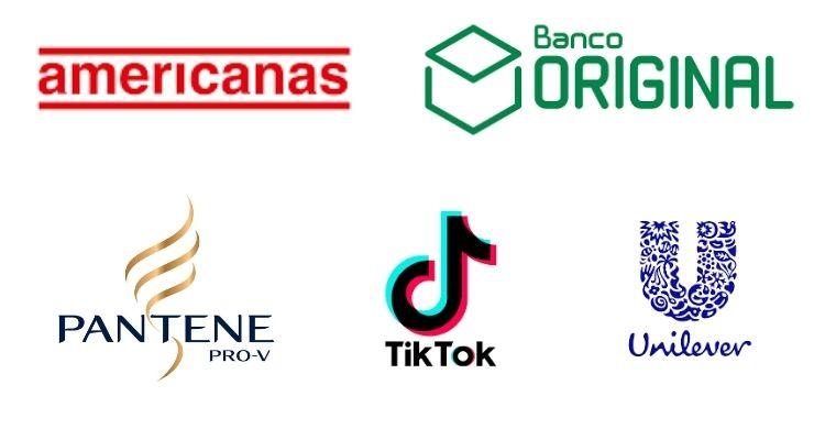 Montagem com logo de Americanas, Banco Original, Pantene, TikTok e Unilever, patrocinadores de A Fazenda 13