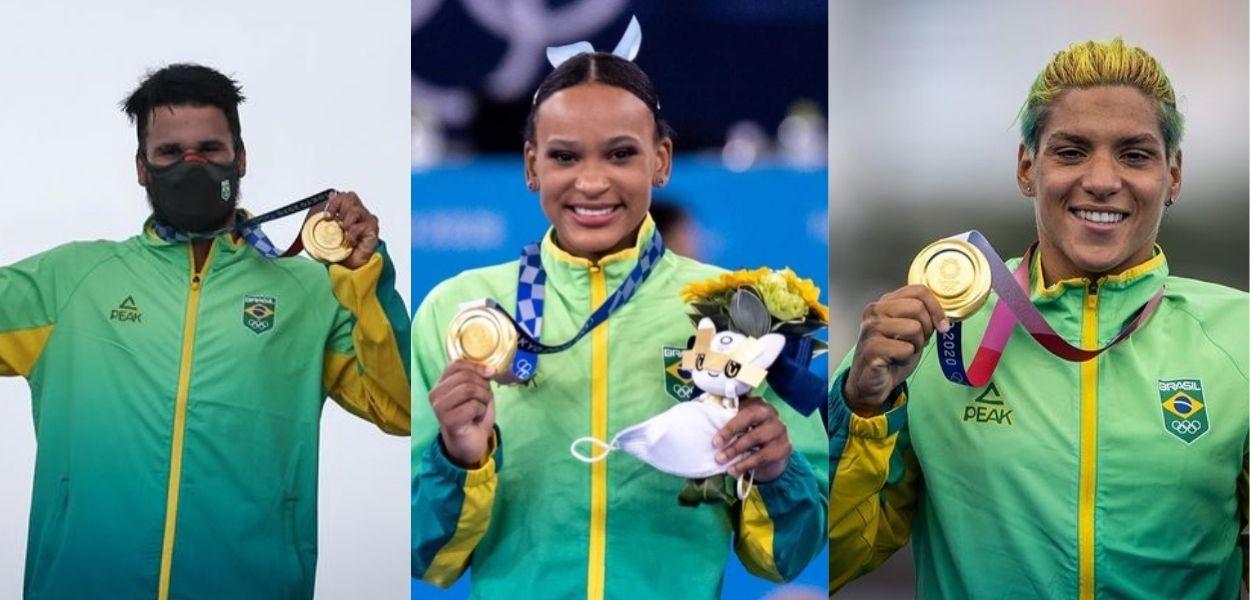Fotos de atletas que ganharam medalhas de ouro do Brasil nas Olimpíadas 2021: Ítalo Ferreira, Rebeca Andrade e Ana Marcela Cunha
