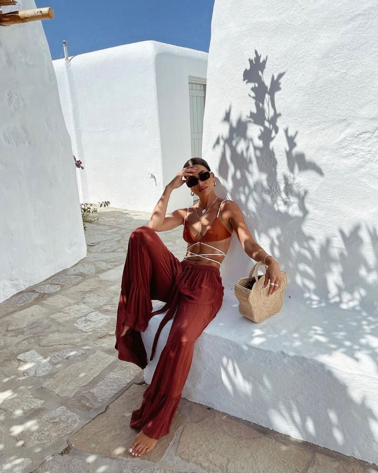 moda praia verão 2022/ saída praia/ calça pantalona