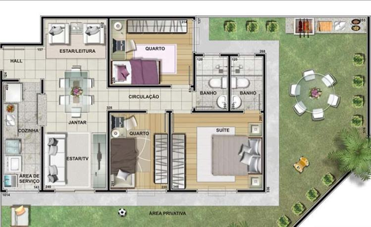 Casa com 3 quartos e área de churrasco.