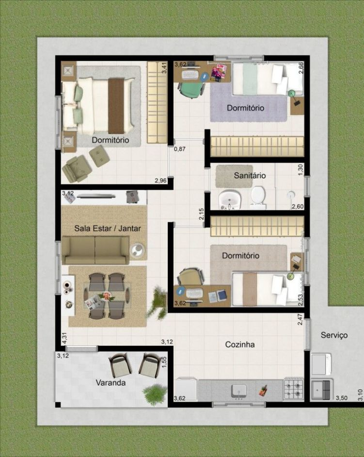 Casa com 3 quartos e um banheiro.
