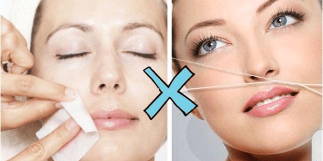 Demonstração de mulher com depilação a cera ao lado de mulher com depilação egípcia