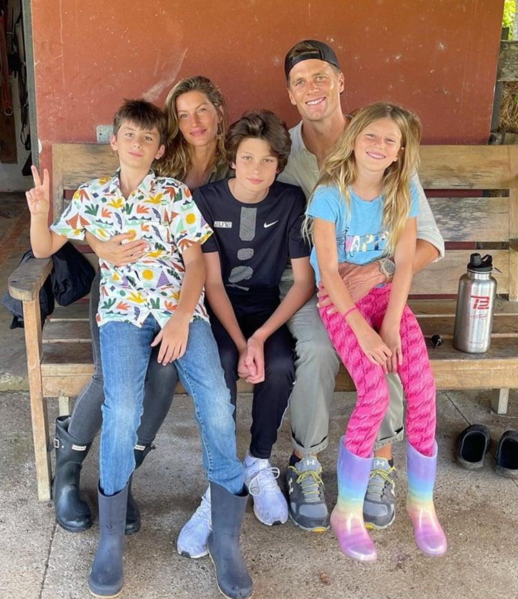 Foto Gisele Bündchen, Tom Brady e seus filhos.