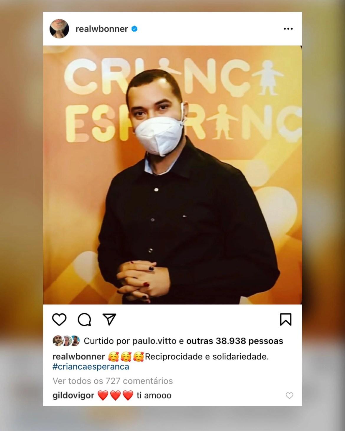 William Bonner também retribuiu o carinho de Gil através de seu Instagram. Fonte: Instagram