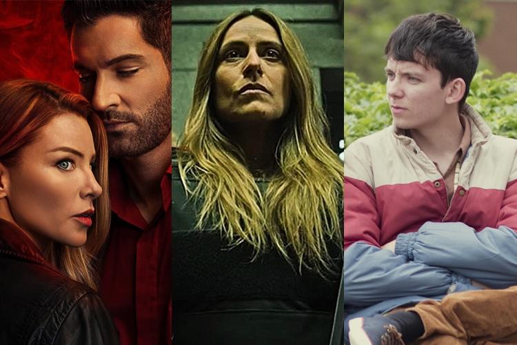"""Foto das séries """"Lúcifer"""", """"La Casa de Papel"""" e """"Sex Education"""", da Netflix."""