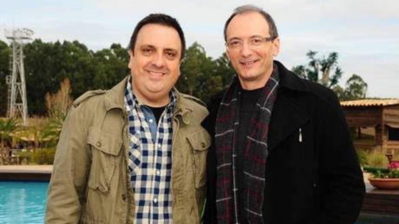 Rodrigo Carelli, diretor de realities da Record TV e Britto Jr, quando ainda trabalhavam juntos em A Fazenda. Fonte: Reprodução