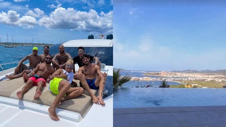 Neymar curte férias em lancha luxuosa e mansão com amigos na Espanha. Fonte: Monstagem/Fashion Bubbles