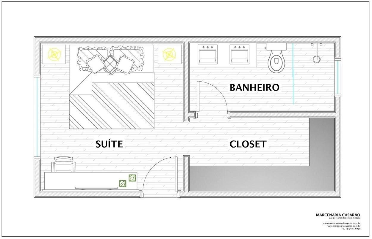 Planta de quarto com closet e banheiro.