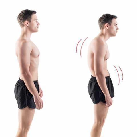 Homem demonstrando uma postura correta e uma postura inadequada
