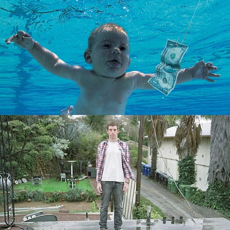 Foto do bebê na capa do álbum e outra mais recente.